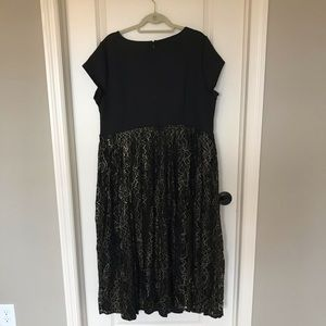 Eloquii Black and Gold Lace Accent Dress